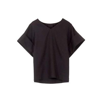 [神戸レタス] リネンタッチ Vネック ゆったり ブラウス [C4474] レディース 半袖 ワンサイズ(M) ブラック