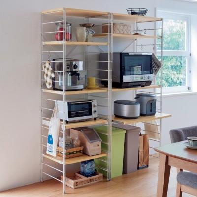 キッチン ラック  収納 ダブルワイヤーレンジ台 ナチュラル×ホワイト 低め F:幅84cm G:60cm