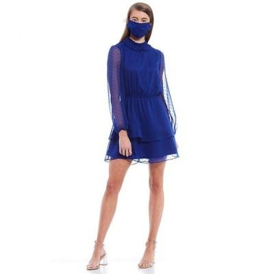 ミッドナイト ドール レディース ワンピース トップス Mock-Neck Chiffon Tiered Hem Skater Dress
