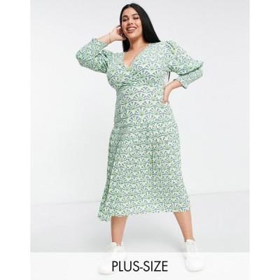 ネバーフリードレス ドレス 大きいサイズ レディース Never Fully Dressed Plus puff sleeve pleated midaxi dress in green geo print エイソス ASOS マルチカ