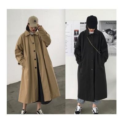 全2色 ロングコート 切り替え 体型カバー 着痩せ シンプル
