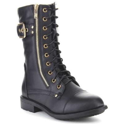 ブーツ シューズ 靴 海外厳選ブランド Top Moda レディース クラシックal バックル Lace Up ミドル丈 ミリタリー ブーツ PACK-28 BLACK