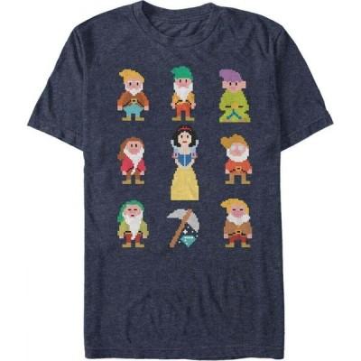 ディズニー Disney Princess メンズ Tシャツ トップス Disney Snow White Pixelated Dwarf Crew Short Sleeve T-Shirt Navy