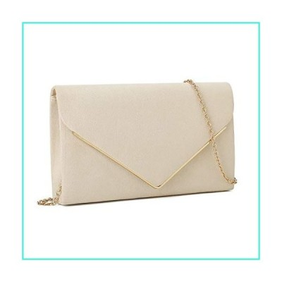 【新品】Charming Tailor Faux Suede Clutch Bag Elegant Metal Binding Evening Bag for Wedding/Prom/Black-tie Events (Beige)(並行輸入品)