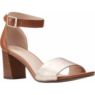 クラークス レディース サンダル シューズ Jocelynne Cam Ankle Strap Heeled Sandal Metallic/Tan Leather Combination