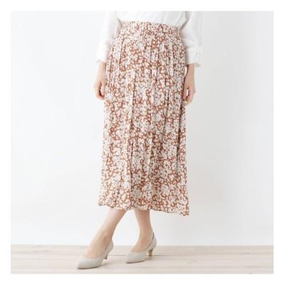 【シューラルー/SHOO・LA・RUE】 【M-LL】ナイルサテンギャザースカート