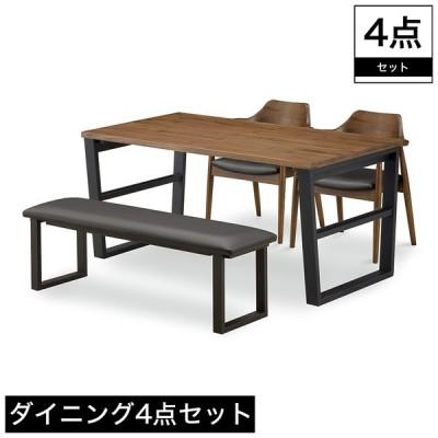 ダイニング4点セット ダイニングテーブル ダイニングベンチ ダイニングチェア 2脚 4人掛けテーブル 2人掛けベンチ ロの字脚 セット