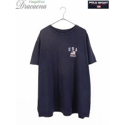 古着 Tシャツ POLO SPORT Ralph Lauren ポロスポ USA 星条旗 ワンポイント 100%コットン Tシャツ 紺 XXL 古着 18ap05a