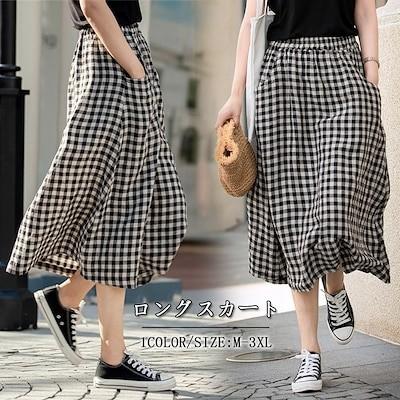 新入荷ロングスカート 韓国ファッションチェックスカートロングスカート フレアスカートプリーツスカート