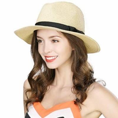 【新品】Jeff & Aimy [Amazon限定ブランド] 麦わら帽子 折りたたみ可能 中折れ帽 ストローハット パナマハット 紳士用 UVカット ハット