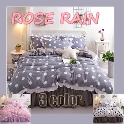 寝具セット 掛け布団カバー ベッドシーツ ピローカバー 4点セット 柔らか ベッド用品 ドット模様 可愛い フリル 3color