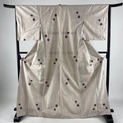 P15倍 紬 優品 遠州椿 絣 薄紫 袷 身丈168.5cm 裄丈65.5cm M 正絹 中古