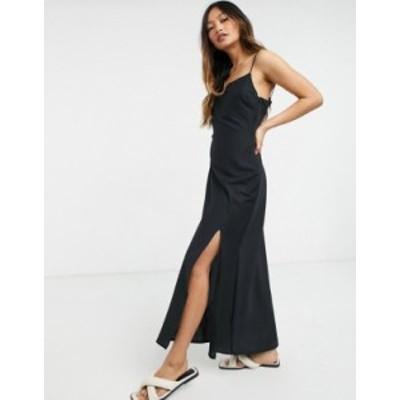 エイソス レディース ワンピース トップス ASOS DESIGN linen cami maxi dress in black Black