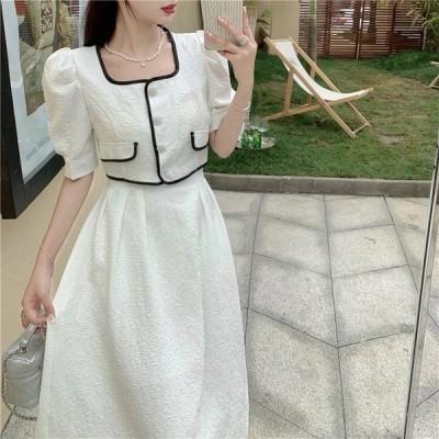 甘いファッションスーツ女性の夏の気質パフスリーブパールボタンショートトップホワイトロングミッドスカートツーピースセット女性