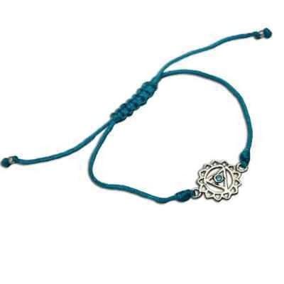シャンティブティック ブレスレット Handmade Throat Chakra Turquoise Adjustable Charm Bracelet (India)