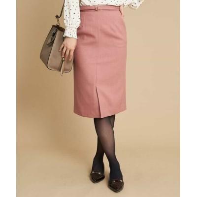 OFUON/オフオン 【洗濯機で洗える】ベルト付きナロースカート ピンク 36