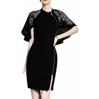 【ルリジューズ】 Religeuses レース ケープ エレガント ワンピース サイド ジッパー フォーマル ドレス (XL, 黒)