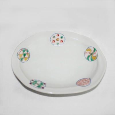 九谷焼 手描き 和洋食器 丸紋六寸楕円皿