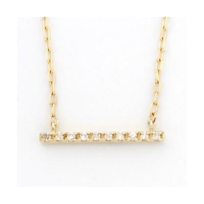 ネックレス レディース (K18への変更可) K10 ダイヤモンド バー D0.02 10金 新品 女性 かわいい オシャレ