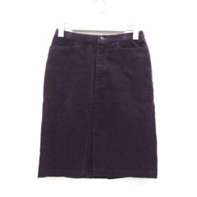 【中古】ユニクロ UNIQLO スカート ひざ丈 コーデュロイ 60 紫 パープル /ZT19 レディース