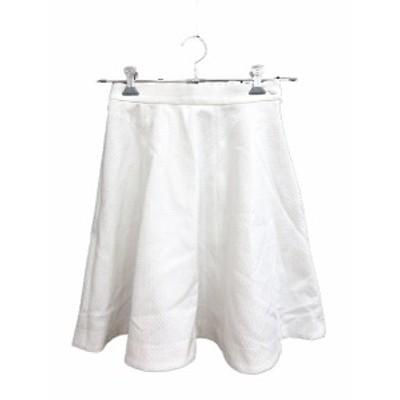 【中古】マルティニーク martinique スカート フレア ひざ丈 総柄 1 白 ホワイト /AU レディース