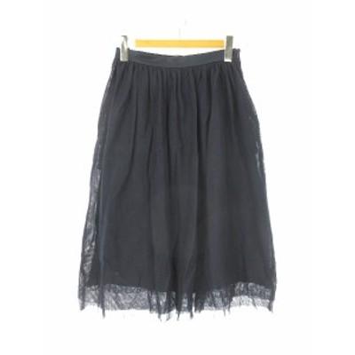【中古】マレーラ MARELLA フレアスカート サイドジッパー 40 紺色 ネイビー  レディース