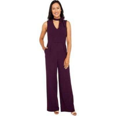 カルバンクライン Calvin Klein レディース オールインワン ジャンプスーツ ワンピース・ドレス Tie Neck Jumpsuit Aubergine
