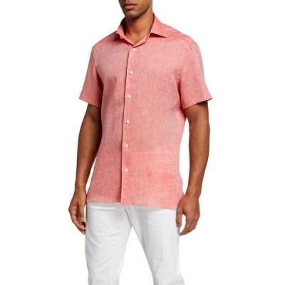 エルメネジルド・ゼニア メンズ シャツ トップス Men's Heathered Linen Regular-Fit Sport Shirt