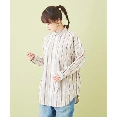 CUBE SUGAR / 空紡糸 先染め チェック ストライプ ビッグシャツ WOMEN トップス > シャツ/ブラウス