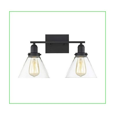"""Savoy House 8-9130-2-BK Drake 2-Light Bathroom Vanity Light in a Black Finish with Clear Glass (18"""" W x 10"""" H)"""