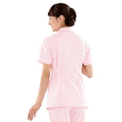 KAZENKAZEN レディスジャケット半袖 (ナースジャケット) 医療白衣 ピンク×ホワイト S 100-24(直送品)