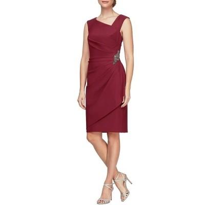 アレックスイブニングス レディース ワンピース トップス Stretch Scuba Sleeveless Asymmetric Neck Ruched Side Embellished Detail Sheath Dress Wine
