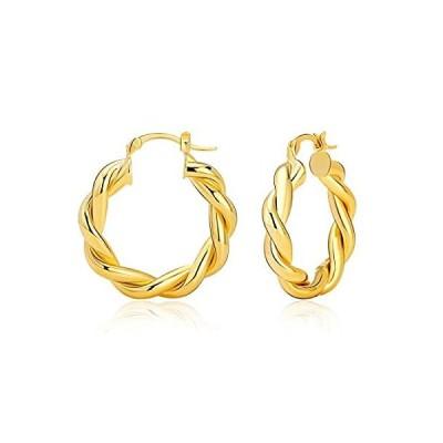 ツイストチャンキーフープピアス 14Kゴールドメッキ 低刺激性 軽量 ゴールドフープピアス ファッションジュエリー レディース ゴールド
