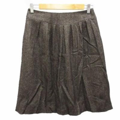 【中古】トゥーシー TWO:C スカート フレア タック ギャザー 膝丈 ウール混 キュプラ混 ラメ 40 茶 ブラウン レディース