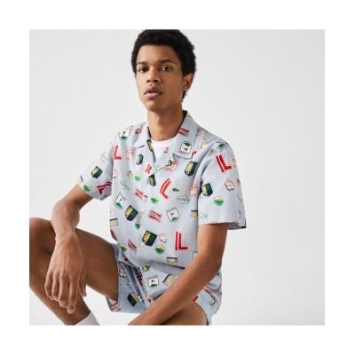 (LACOSTE Mens/ラコステ メンズ)ランドスケープグラフィックオープンネックシャツ/メンズ ライトブルー