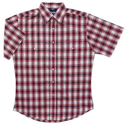 ゆうパケ可 ラングラー メンズ 半袖 ウエスタンシャツ ストレッチ カジュアル 赤系 チェック柄 MSS371