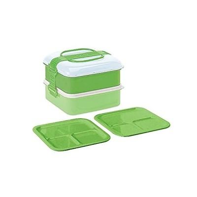 サンコープラスチック 弁当箱 ピクニックケース リオパック 2段 取り皿2枚付き グリーン 約W202×D190×H138mm