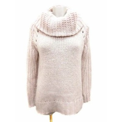 【中古】ロートレアモン LAUTREAMONT ニット セーター オフタートル アルパカ混 長袖 38 ピンク ベージュ レディース