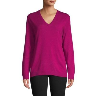 アイザック ミズラヒ レディース ニット&セーター アウター Long Sleeves V Neck Sweater Party Pink