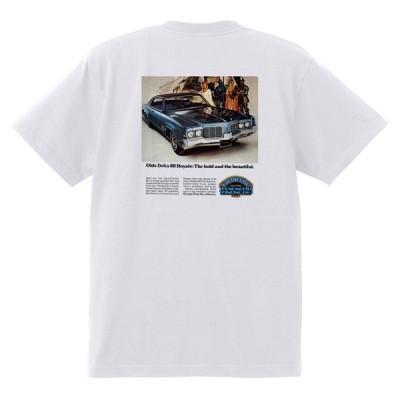 アドバタイジング オールズモビル 560 白 Tシャツ 黒地へ変更可能 1969 カトラス ビスタ 98 88 デルタ ホットロッド ローライダー アドバタイズメント