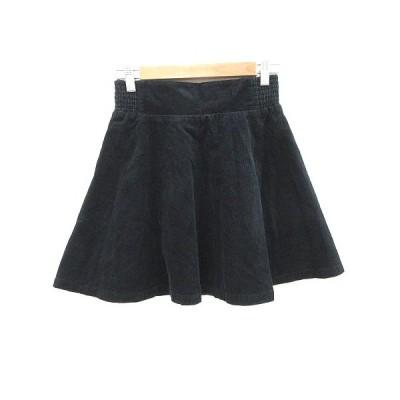 【中古】マウジー moussy コーデュロイスカート フレア ミニ 2 黒 ブラック /CT レディース 【ベクトル 古着】