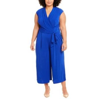 ロンドンタイムス レディース ワンピース トップス London Times Plus Wrap Bodice Jumpsuit china blue
