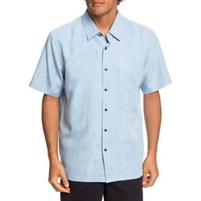 クイックシルバー メンズ シャツ トップス Quiksilver Men's Waterman Kelpies Bay Short Sleeve Button Up Shirt Cerulean