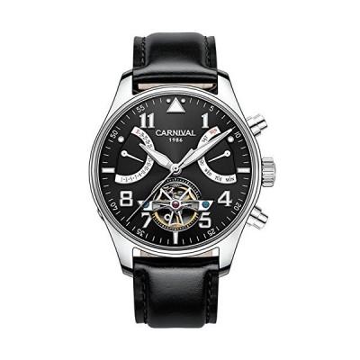(新品) Whatswatch Carnival Watches for Men Automatic Silver Watch case Sapphire Waterproof Luminous Mens's Black Leaher Watch