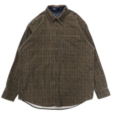 HAGGAR コーデュロイ ボタンダウンシャツ チェック ブラウン サイズ表記:L