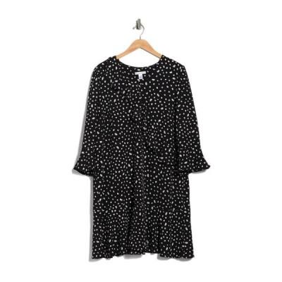 ロンドンタイムス レディース ワンピース トップス Confetti Dot Ruffle Dress BLACK/SOFT