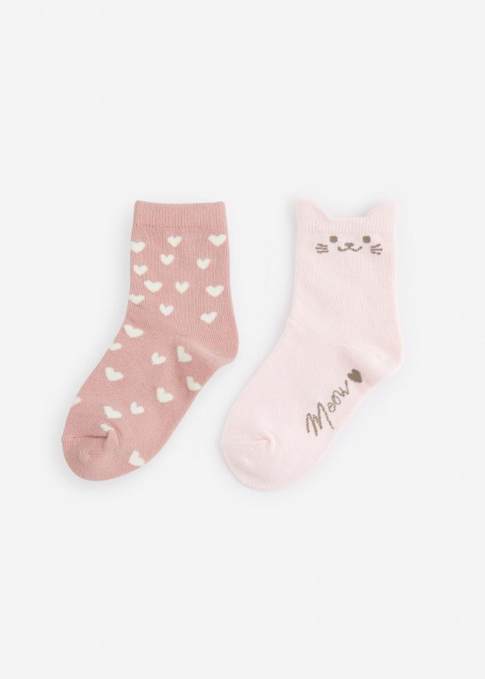 (女童二入組)溫暖陪伴.貓耳造型中筒襪(愛心/貓咪)