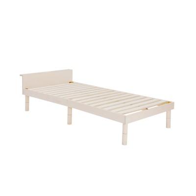3段階高さ調整式コンセント&宮付きシンプルすのこベッド<シングル>
