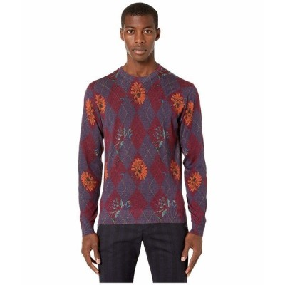 エトロ ニット、セーター アウター メンズ Printed Crew Neck Sweater Red