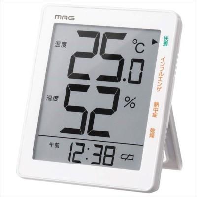 即日出荷 デジタル温湿度計 温度湿度計 大画面 熱中症対策に 風邪対策 ウィルス対策 環境目安表示 置き掛け兼用 MAG TH-105 WH